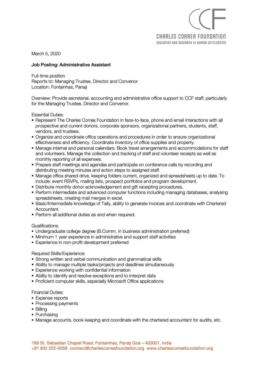 Job Posting_Administrative Assistant